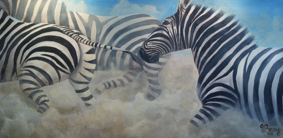 A large scale painting of a stampede of zebras by Janet Bray