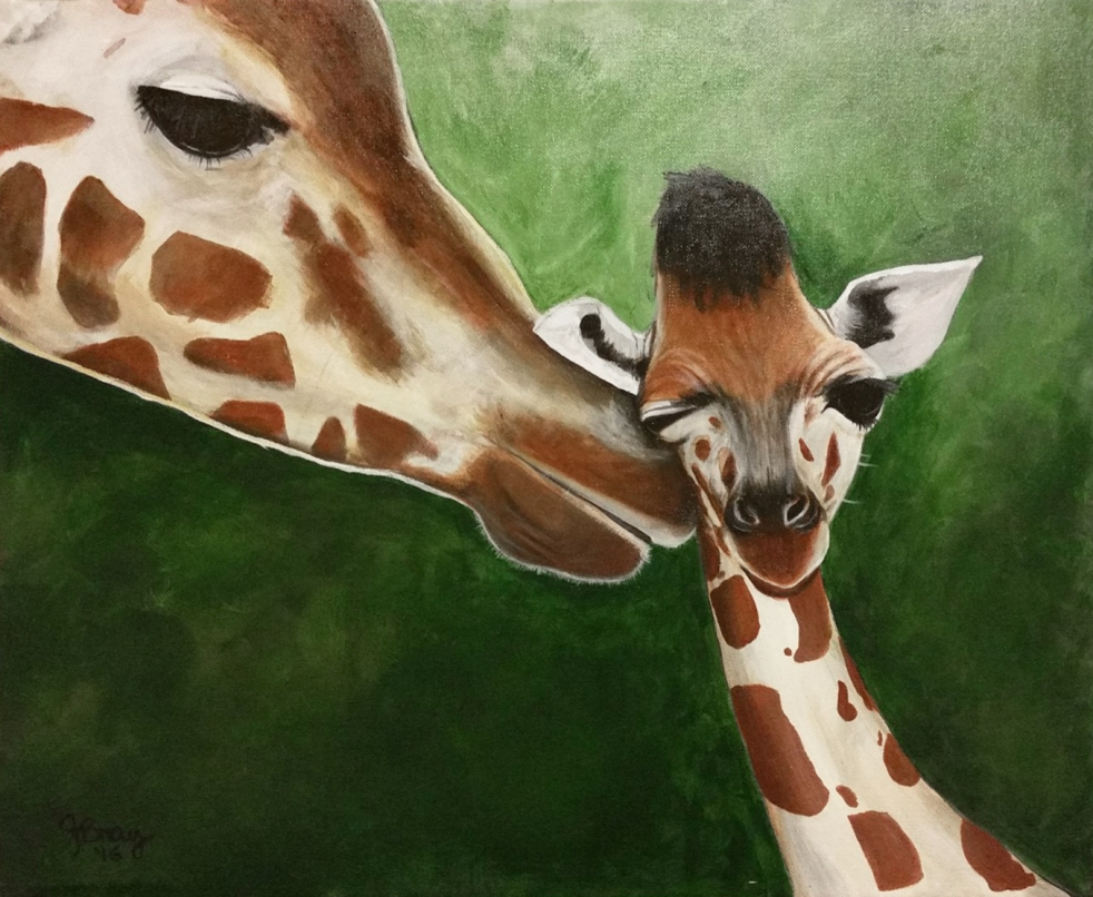 Mother's Love - a painting depicting a mother giraffe nuzzling a newborn, by Janet Bray