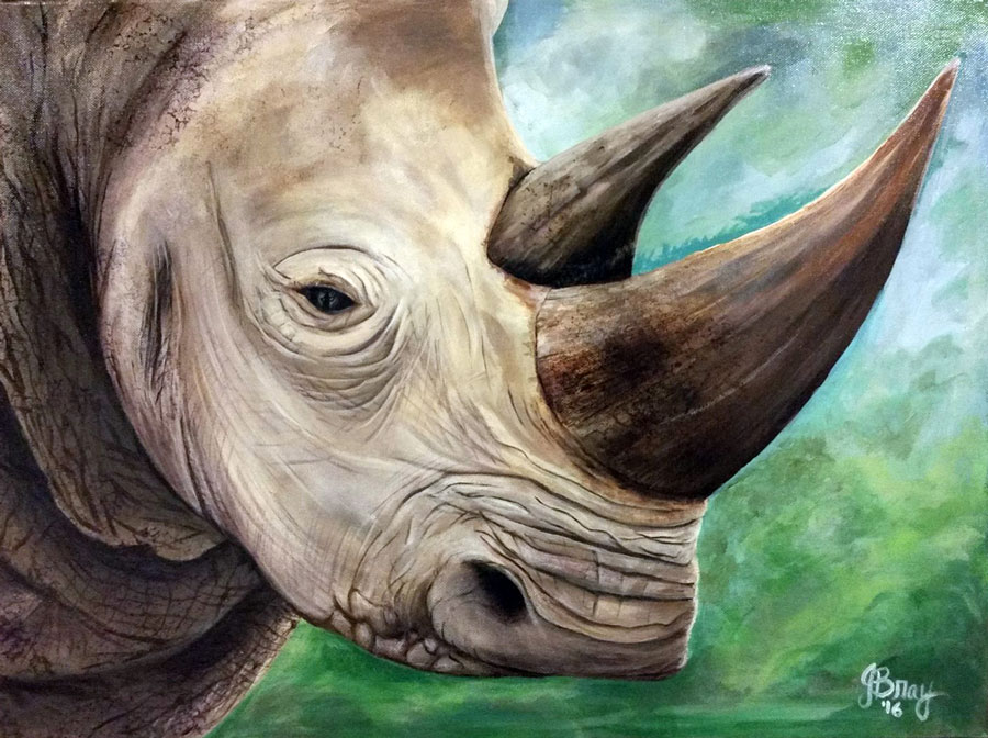 A painting of a rhinoceros with horns intact, and in the reflection of its eye is a poacher with a gun approaching.