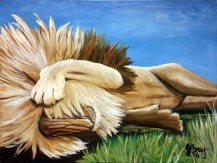 Original painting of a lion napping in the sun by Janet Bray