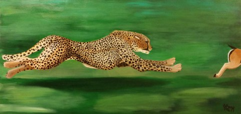 Original painting of a cheetah chasing a Tompson's Gazelle by Janet Bray